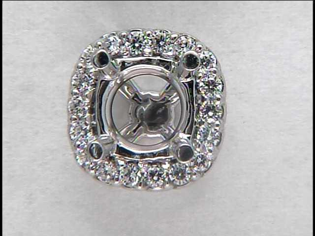 Lady's 14k White Gold Halo Head for a .75 carat Cushion Cut