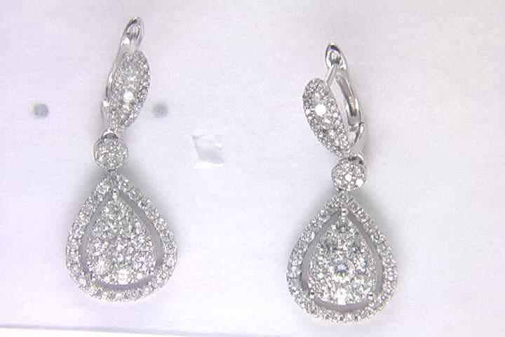Ladies 14k White Gold Diamond Earrings