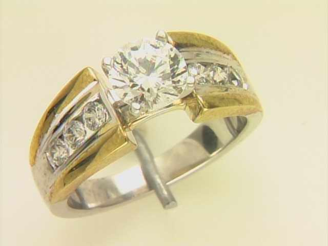 14k White And Yellow Gold Lady's Diamond Mounting