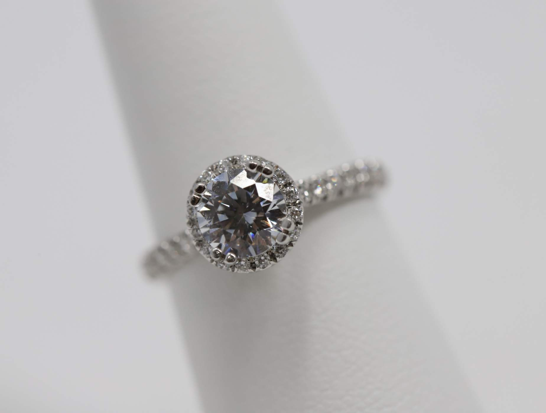 Lady's 14k White Gold 6.5 Mm CZ Engagement Ring