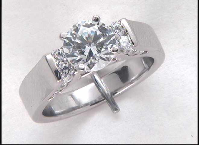 Lady's 14k White Gold 7 Mm CZ Engagement Ring Mounting
