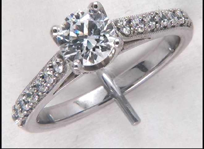 Lady's 14k White Gold 6 Mm CZ Engagement Ring Mounting