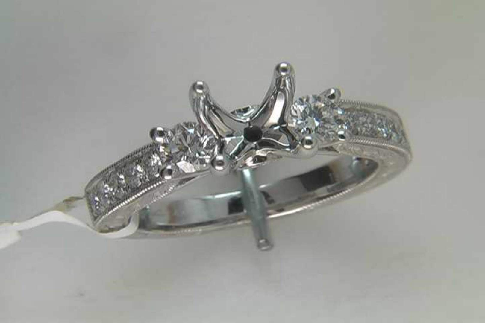 Lady's 14k White Gold Diamond Engagement Ring Mounting