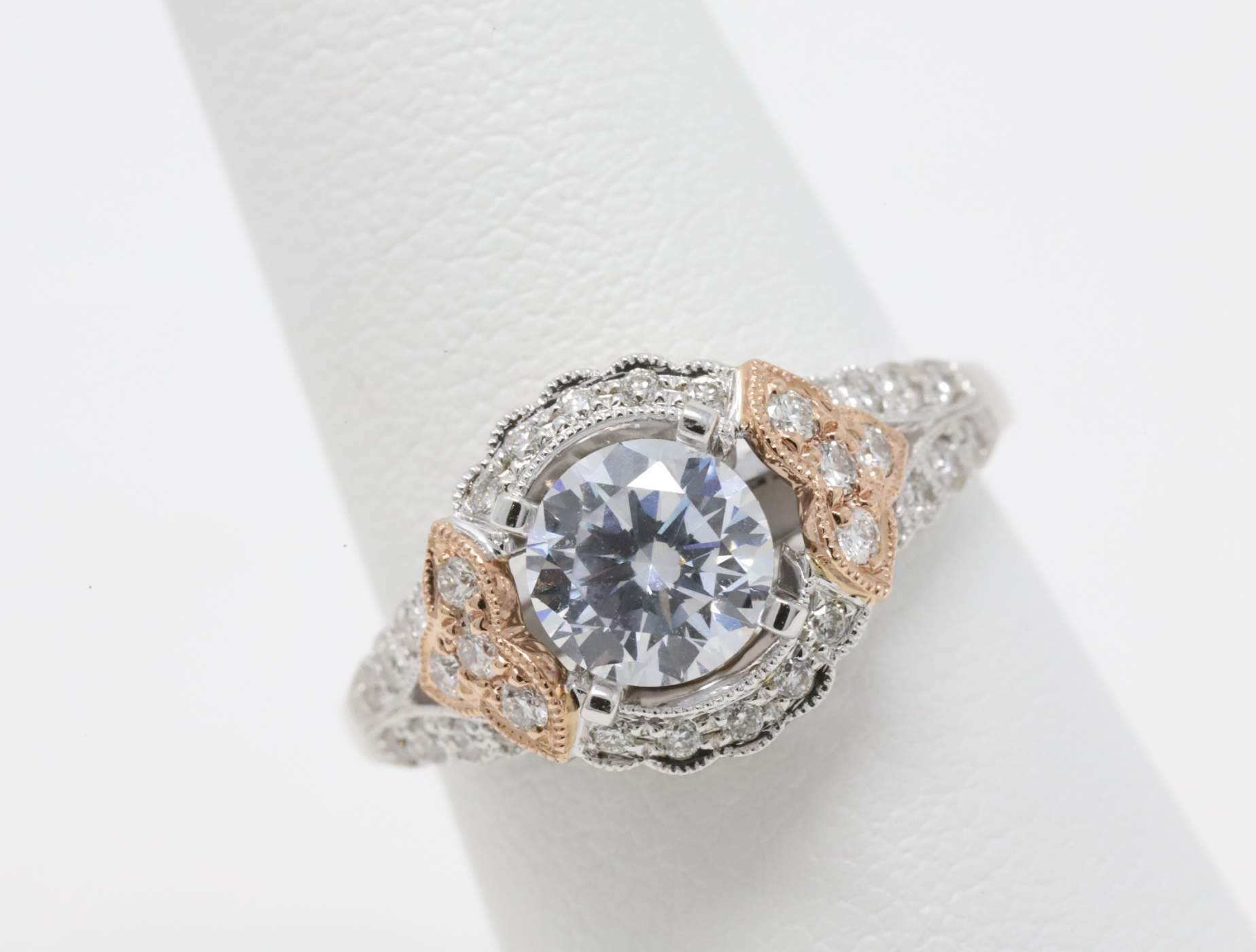 14k White And Rose Gold Lady's Diamond Mounting