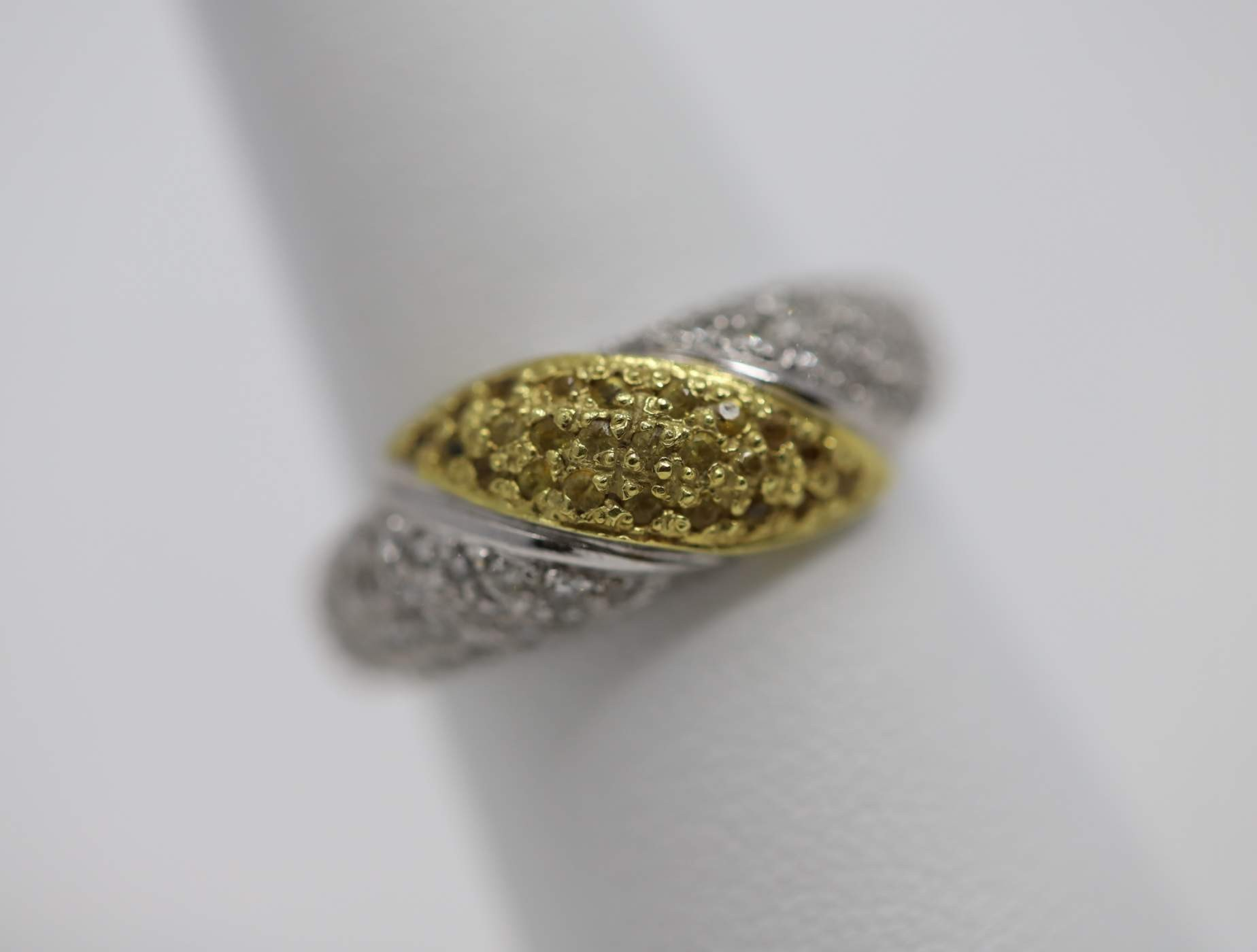 18k Yellow And White Gold Lady's Diamond Ring