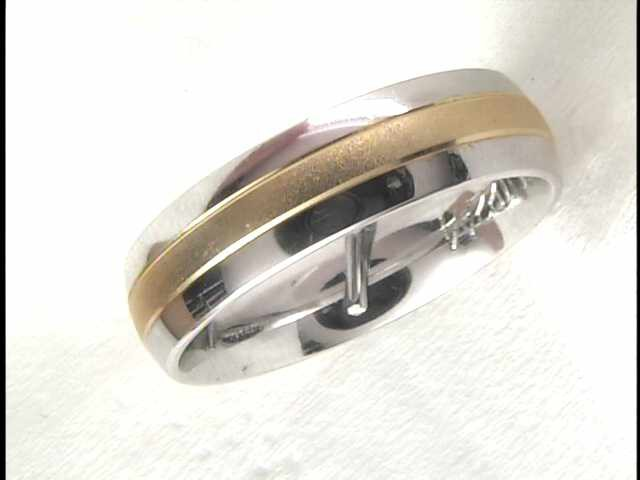 14k White And Yellow Gold Fancy Wedding Band