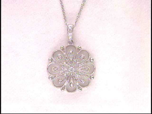 14k White Gold Flower Necklace