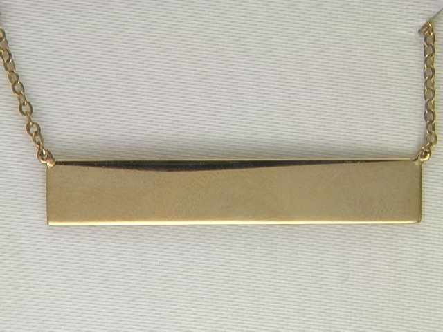 "14k Yellow Gold ""Engravable Bar"" Necklace"