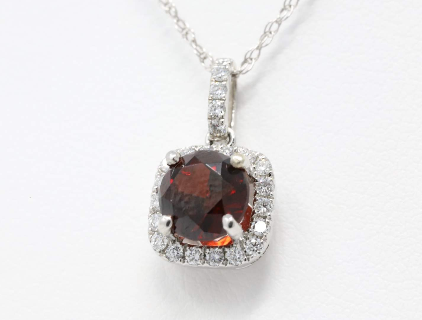 Ladies 14k White Gold Garnet Pendant