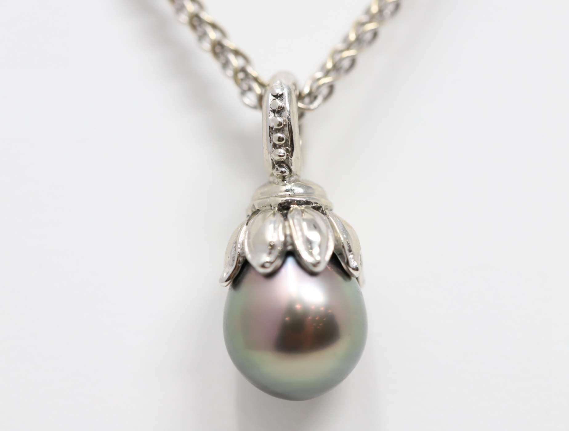 Ladies 14k White Gold South Sea Black Pearl Necklace
