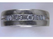 Gentlemens 14k White Gold Diamond Ring