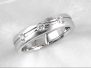 14k White Gold Gentleman's Diamond Wedding Ring