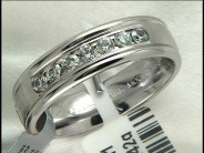Gentleman's 14k White Gold Diamond Wedding Ring