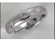 Gentleman's 18k White Gold Diamond Wedding Ring