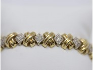 Ladies 14k White And Yellow Gold Diamond Bracelet