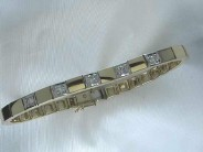 Ladies 14k White And Yellow Gold Diamond Add A Link Bracelet