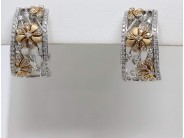 Lady's 18k White And Rose Gold Diamond Earrings