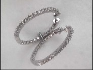 Lady's 14k White Gold Diamond Hoop Earrings