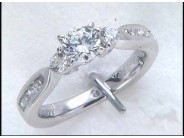 Lady's 14k White Gold 3-Stone Engagement Ring Mounting