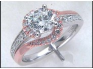 Lady's 14k White And Rose Gold Engagement Ring Mounting