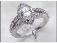 Lady's 14k White Gold Currently 9.5 X 4.75 Engagement Ring Mounting