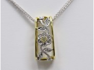 18k Yellow And White Gold Lady's Diamond Pendant