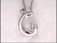 "18k White Gold Diamond Alphabet ""C"" Pendant with Chain"