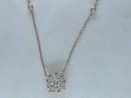Ladies 14k Rose Gold Diamond Adjustable Necklace