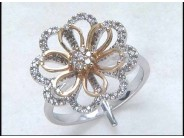 Lady's 18k White and Rose Gold Diamond Ring