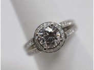 Ladies Platinum 7.4 Mm CZ Engagement Ring