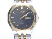 Gentlemens Sterling And 14k Yellow Citizen Watch