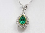 Lady's 18k Yellow And White Gold Emerald Necklace