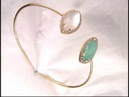 18k Yellow Gold Amazonite & Mother of Pearl Bangle