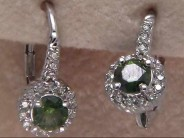 14k White Gold Green Diamond Earrings