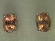 14k White Gold Imperial Pink Topaz Earrings