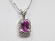 Lady's 18k White Gold Pink Sapphire Necklace