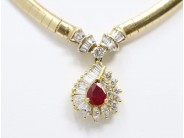 Ladies 14k And 18k Yellow Gold Ruby Necklace