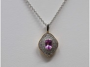 Ladies 18k Yellow And White Gold Pink Sapphire Necklace
