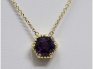 Ladies 14k Yellow Gold Amethyst Necklace