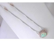 Ladies 14k White And Rose Gold Opal Necklace