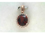 Ladies 14k Rose Gold Garnet Pendant