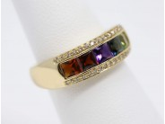 Ladies 14k Yellow Gold Multi-colored Stone Ring