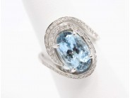 Ladies 18k White Gold Aquamarine Ring