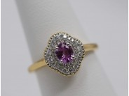 Ladies 18k Yellow And White Gold Pink Sapphire Ring