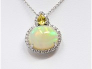 Lady's 18k White Gold Opal Necklace