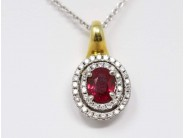 Ladies 18k Yellow And White Gold Ruby Pendant