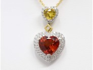 18k Yellow & White Gold  Orange & Yellow Sapphire Pendant