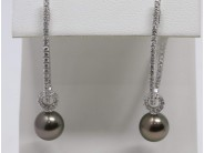 Ladies 18k White Gold Tahitian Black Pearl Earrings