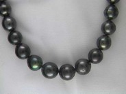 Sterling Tahitian Black Pearl Necklace
