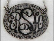 Name Bordered Oval Monogram Necklace